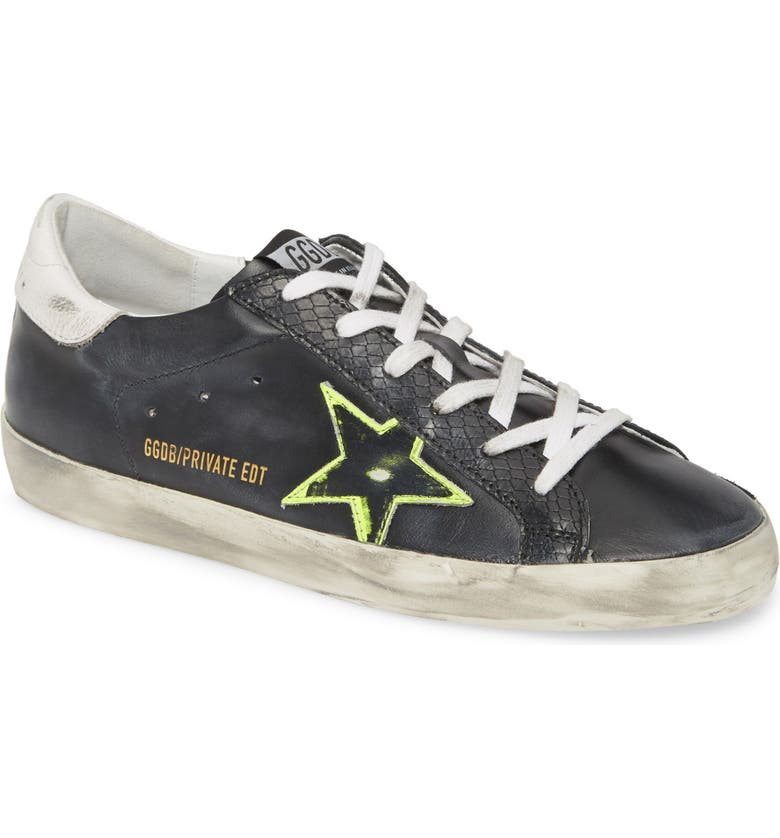 GOLDEN GOOSE Superstar Low Top Sneaker, Main, color, BLACK SHINY LEATHER/ YELLOW