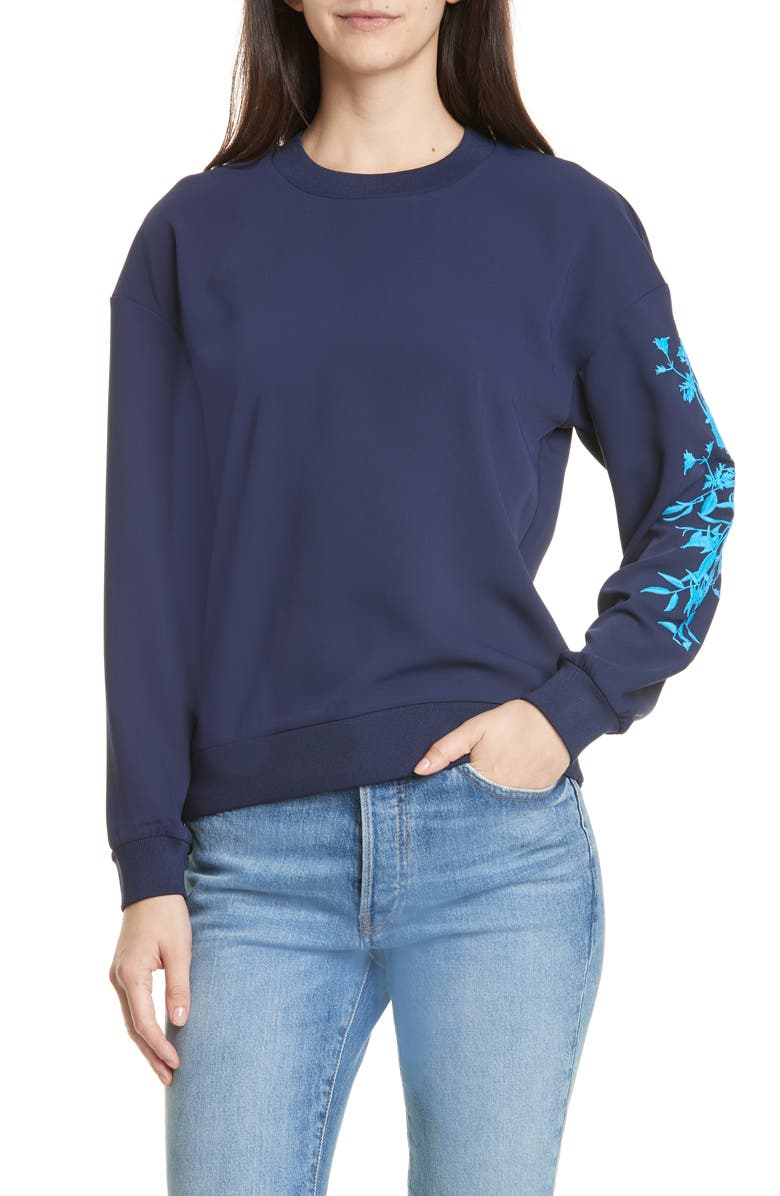 TED BAKER LONDON Bluebell Embroidered Sweater, Main, color, DARK BLUE