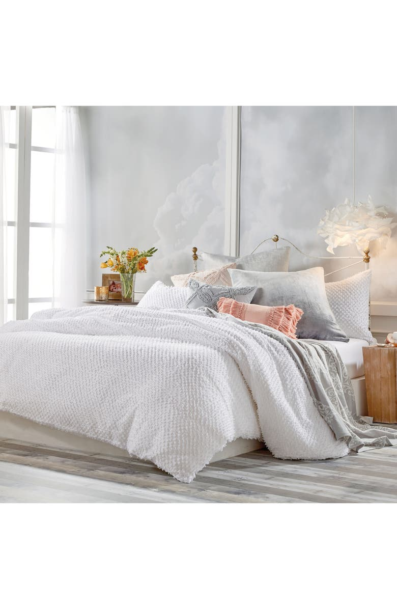 PERI HOME Dot Fringe Comforter & Sham Set, Main, color, WHITE
