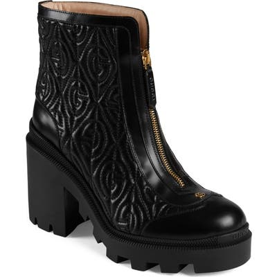 Gucci Trip G Rhombus Quilted Combat Boot, Black