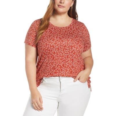 Plus Size Vince Camuto Leafy Calico Linen Blend Pocket Tee, Red