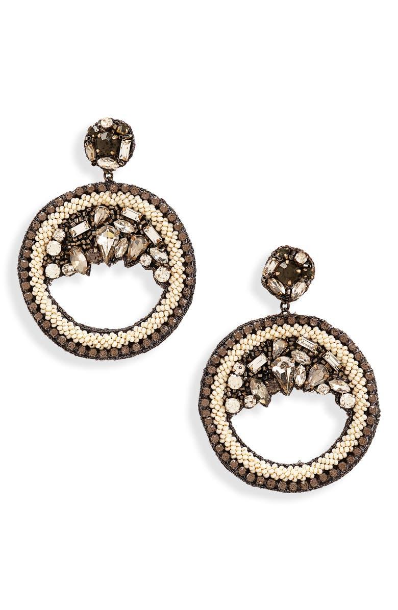 THE ACCESSORY JUNKIE Odette Drop Hoop Earrings, Main, color, SILVER/ GREY