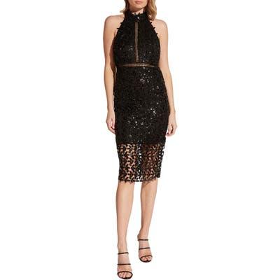Bardo Sequin Leaf Halter Cocktail Dress, Black
