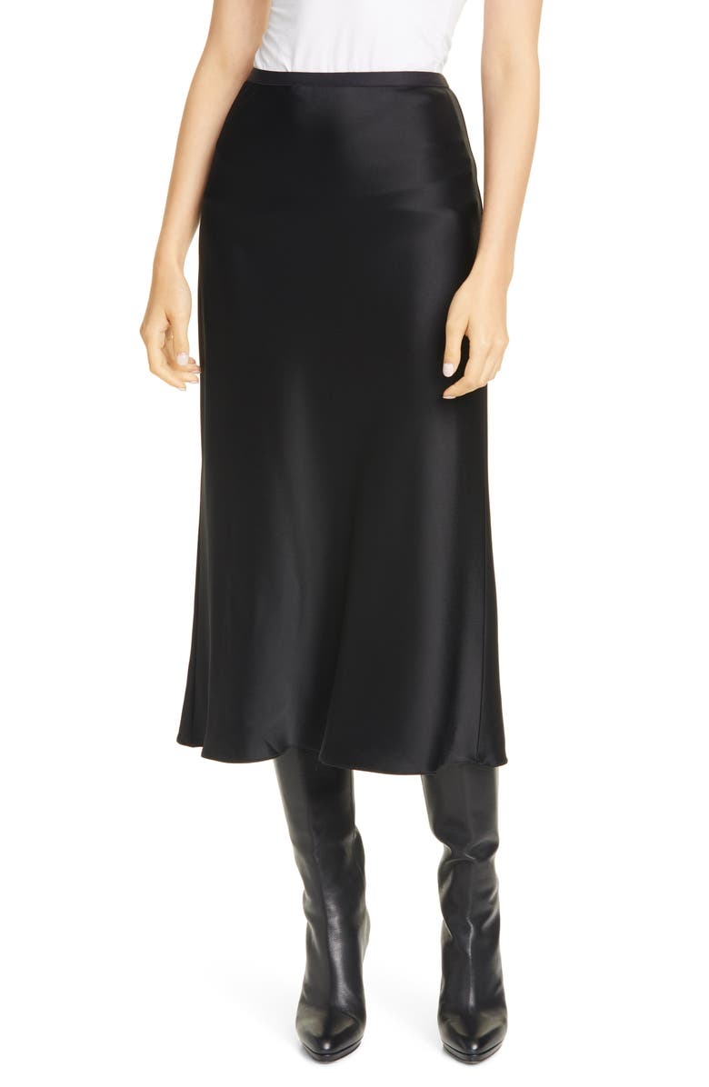 POLO RALPH LAUREN Amla Bias Cut Satin Midi Skirt, Main, color, 001