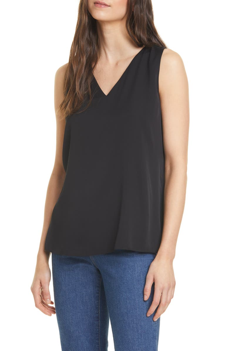 NORDSTROM SIGNATURE Sleeveless Stretch Silk Top, Main, color, BLACK