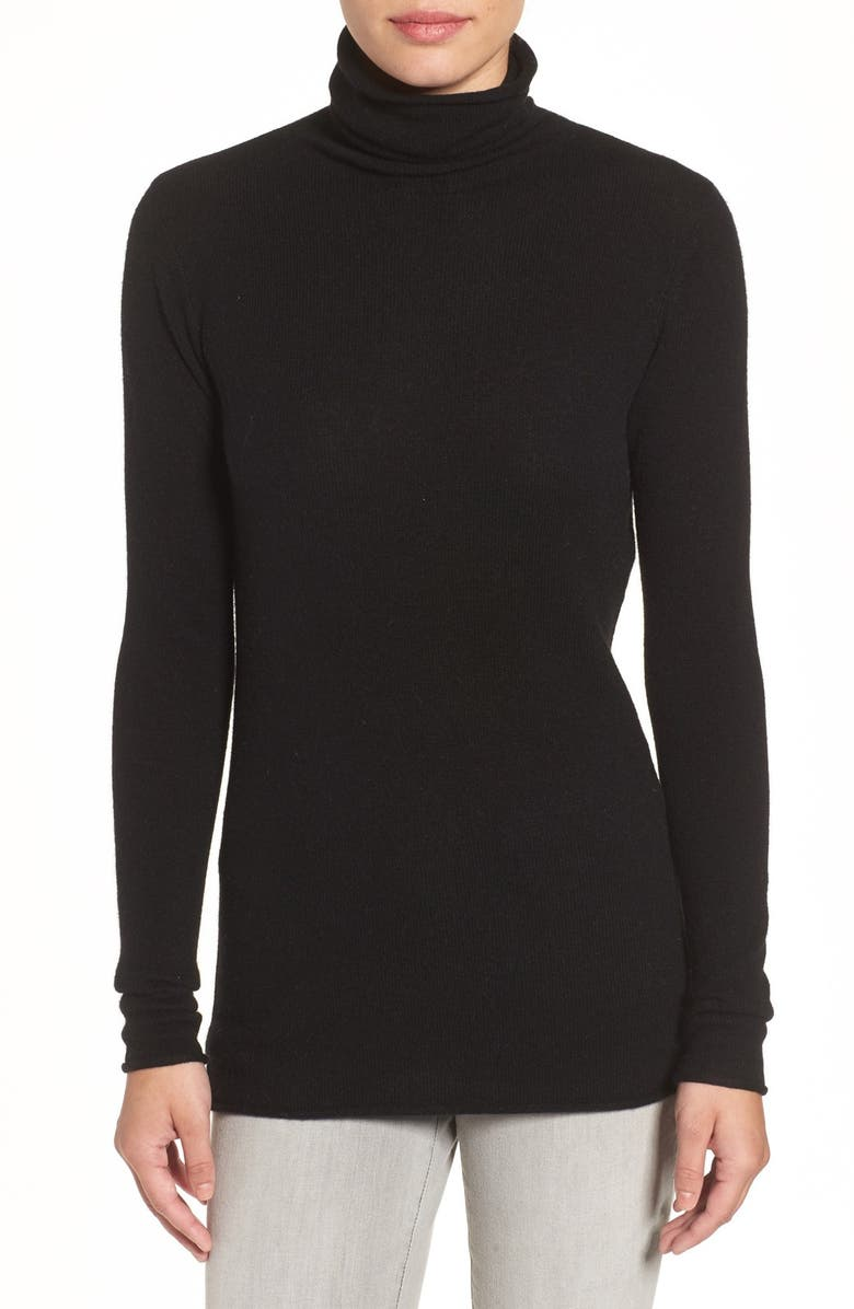 HALOGEN<SUP>®</SUP> Wool & Cashmere Funnel Neck Sweater, Main, color, 001