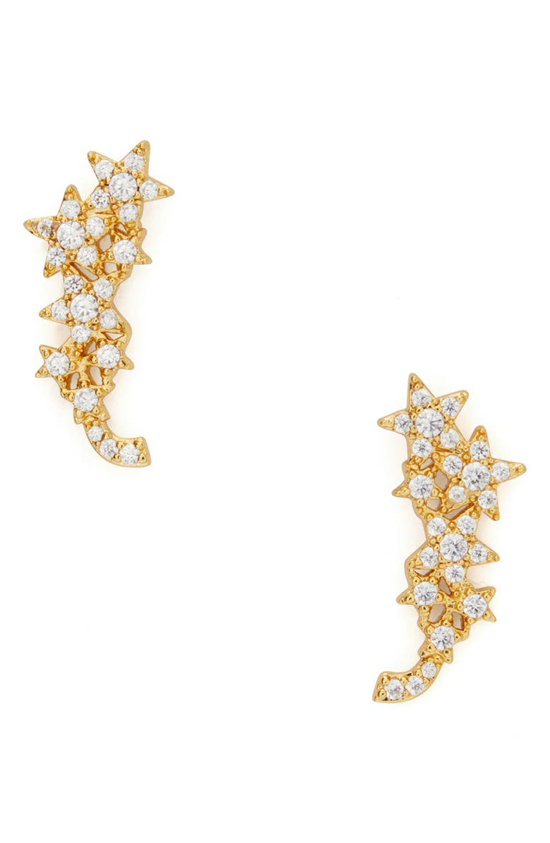 KATE SPADE NEW YORK stargaze ear crawlers, Main, color, CLEAR/ GOLD