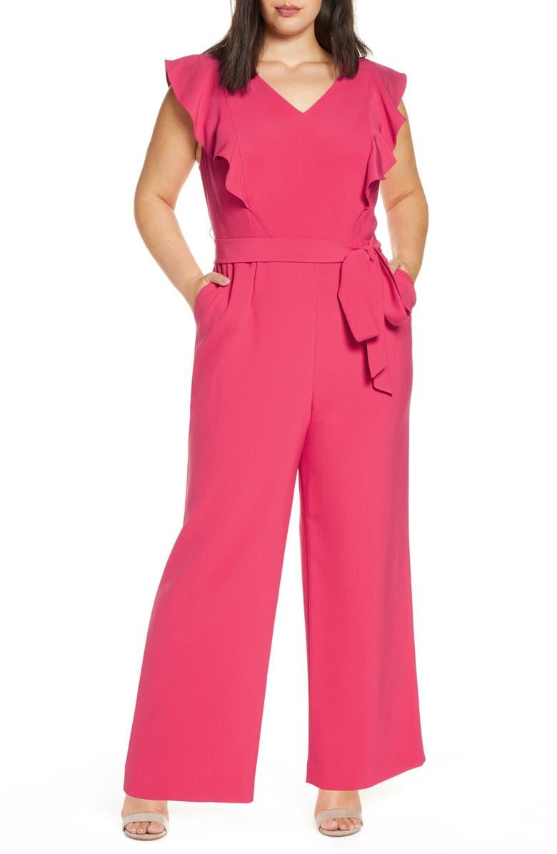 TAHARI Flutter Sleeve Stretch Crepe Jumpsuit, Main, color, RASPBERRY