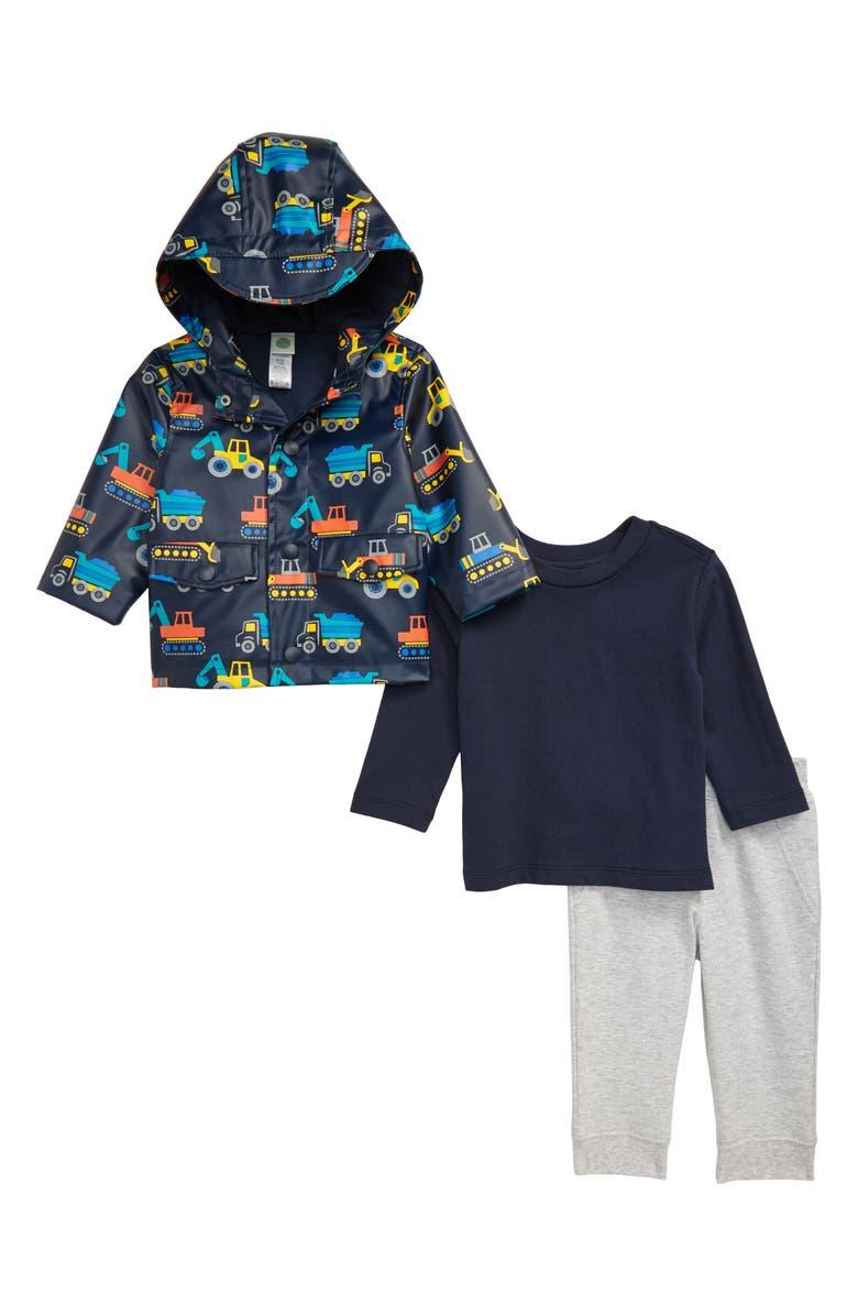 LITTLE ME Construction Rain Jacket, T-Shirt & Pants Set, Main, color, 457