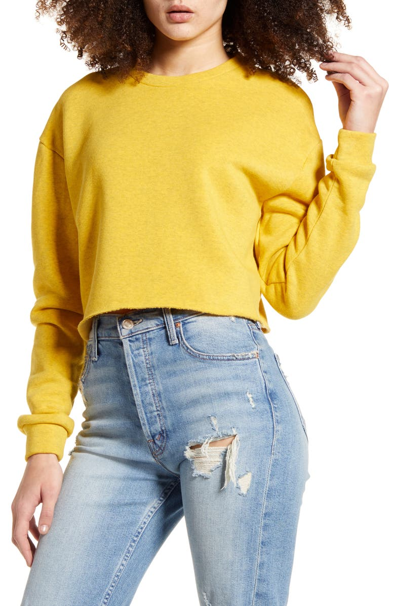 TOPSHOP Soft Crop Sweatshirt, Main, color, MUSTARD