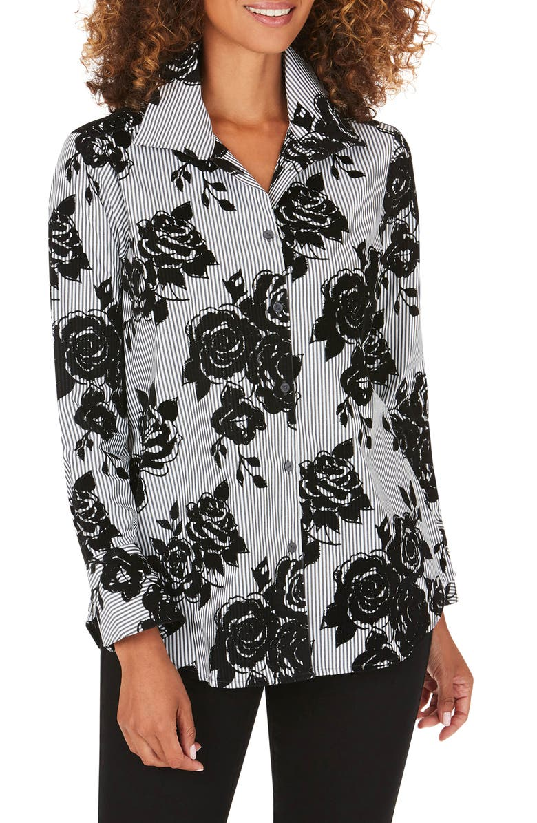 FOXCROFT Jane Flocked Floral Stripe Tunic Shirt, Main, color, BLACK