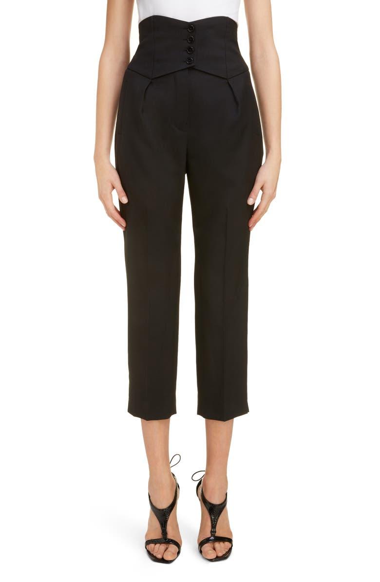SAINT LAURENT High Waist Wool Crop Pants, Main, color, NOIR