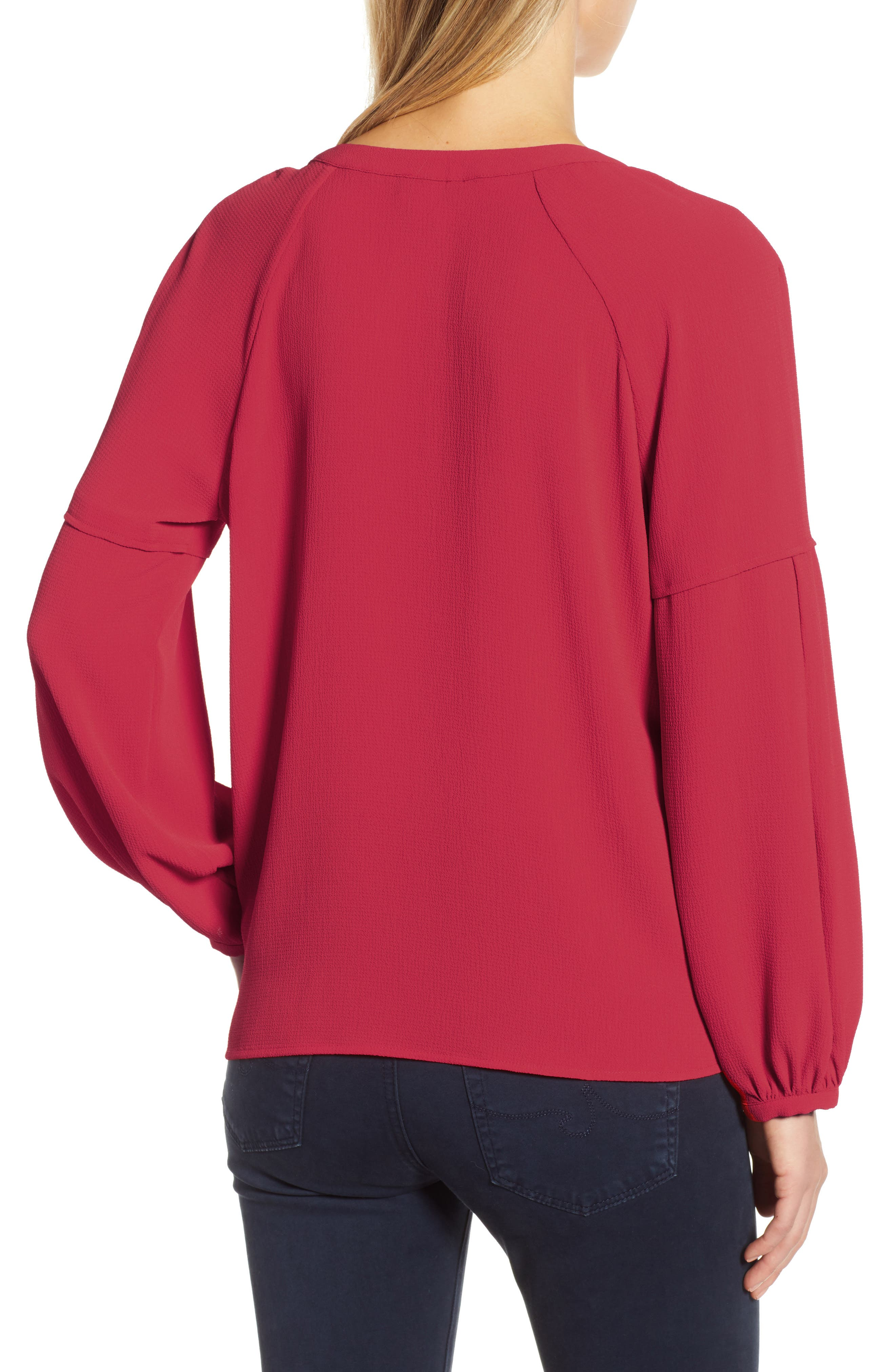 ,                             Bubble Sleeve Crepe Blouse,                             Alternate thumbnail 2, color,                             TROPICAL RED