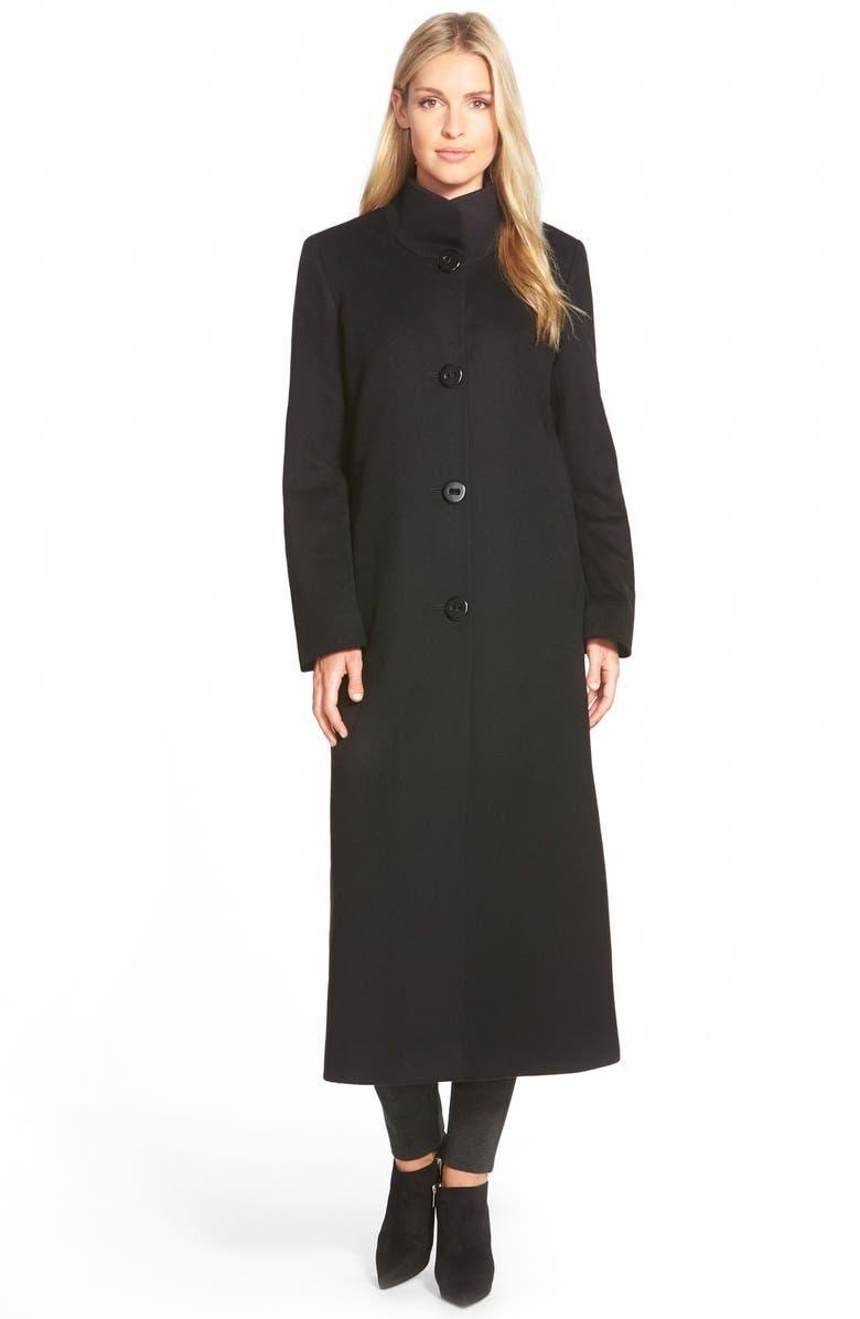 FLEURETTE Cashmere Long Stand Collar Coat, Main, color, 001