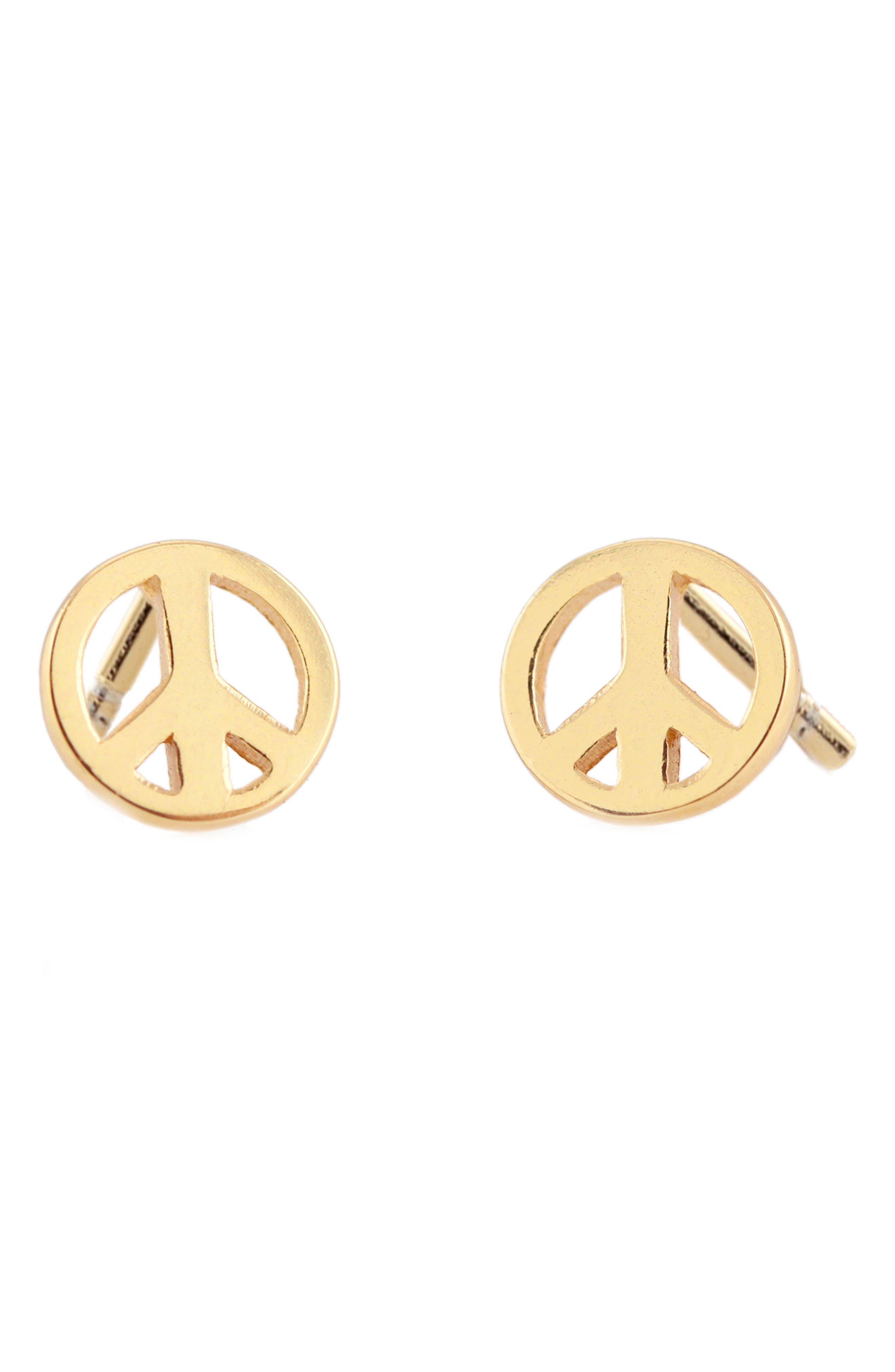 60s -70s Jewelry – Necklaces, Earrings, Rings, Bracelets Womens Kris Nations Peace Stud Earrings $40.00 AT vintagedancer.com