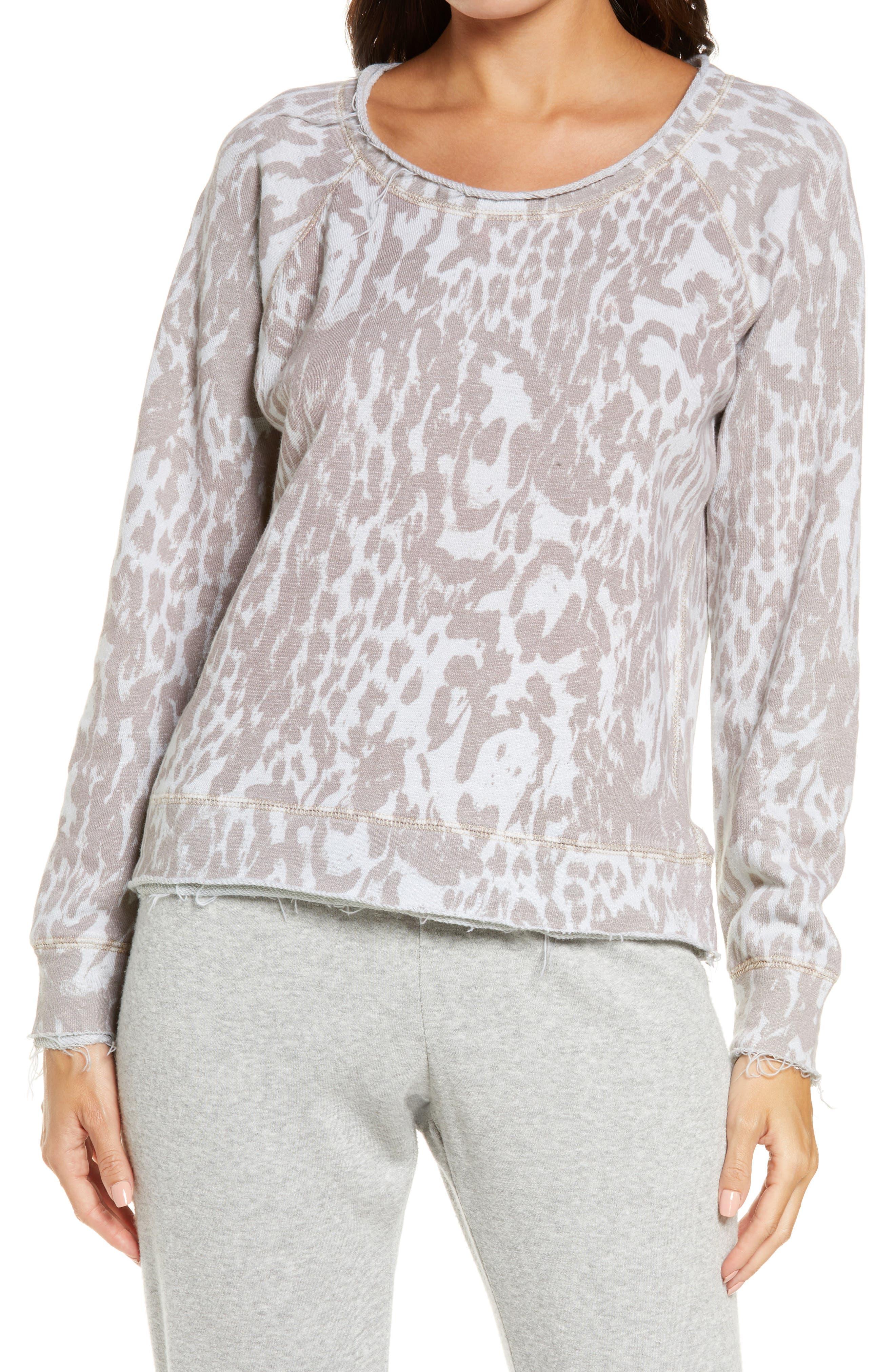 Animal Print Cotton & Linen French Terry Sweatshirt