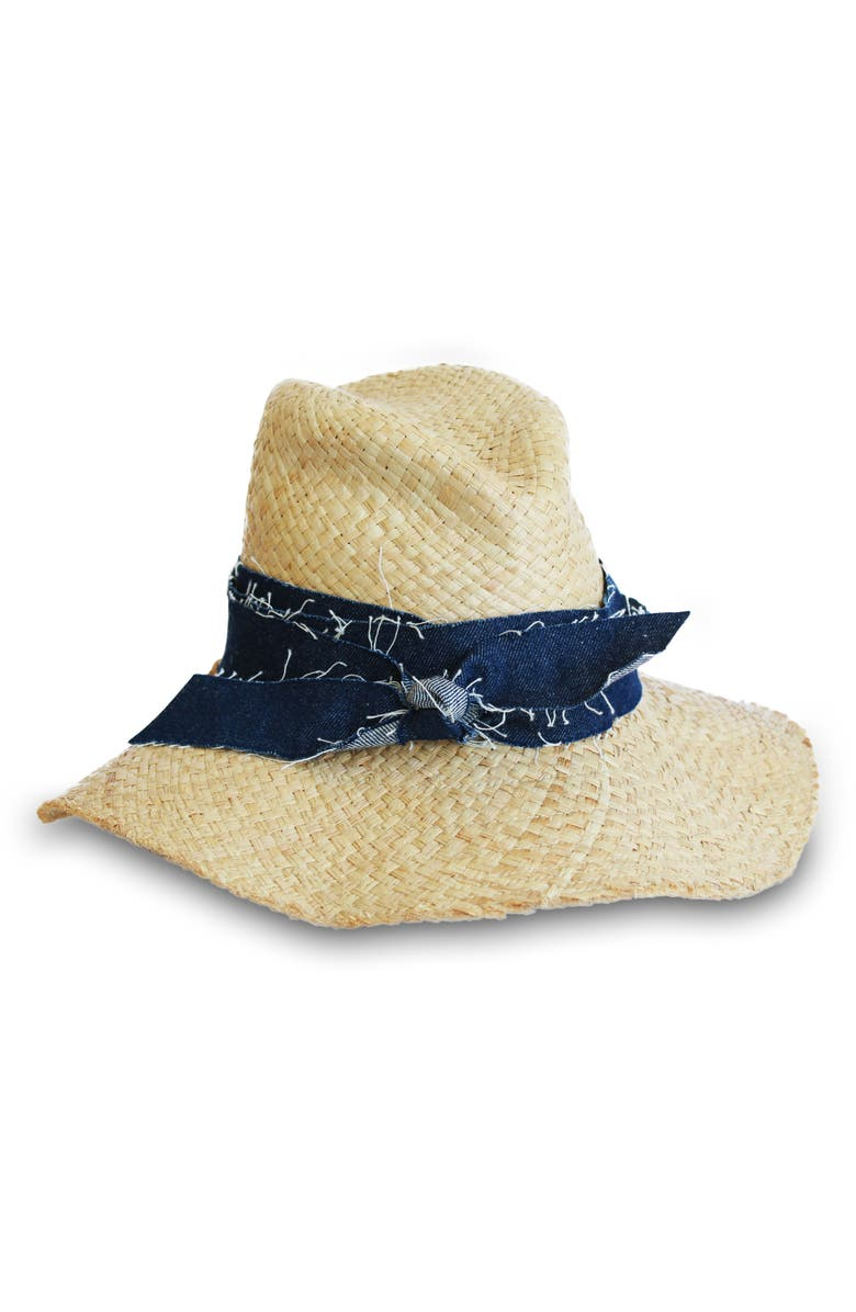 LOLA HATS First Aid Denim Band Straw Hat, Main, color, DENIM