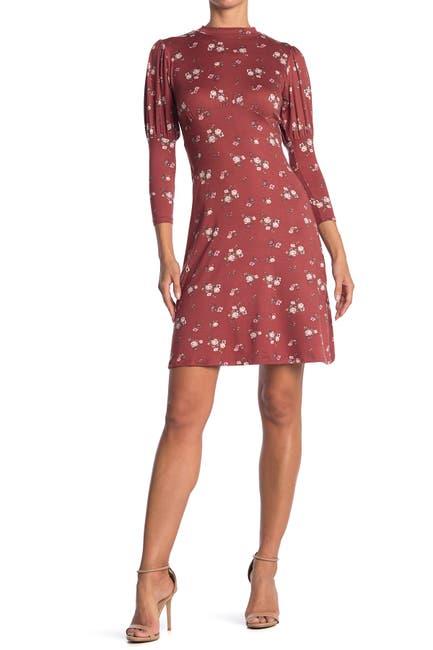 Image of Velvet Torch Floral Mock Neck 3/4 Sleeve Dress
