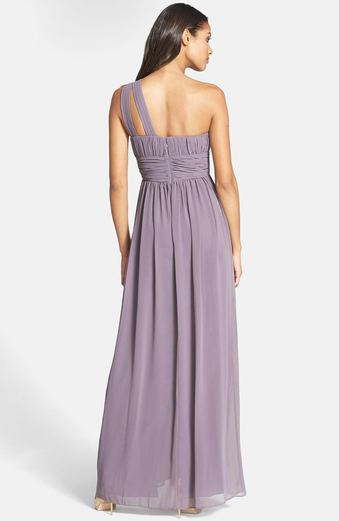 ,                             'Rachel' Ruched One-Shoulder Chiffon Gown,                             Alternate thumbnail 10, color,                             020