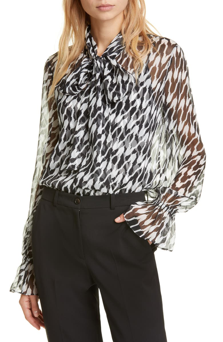 DVF Tina Tie-Neck Silk Blouse, Main, color, EMPIRE HOUNDSTOOTH IVORY