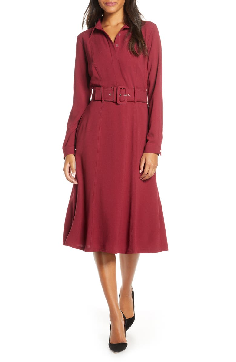 DONNA RICCO Long Sleeve Belted Shirtdress, Main, color, 601