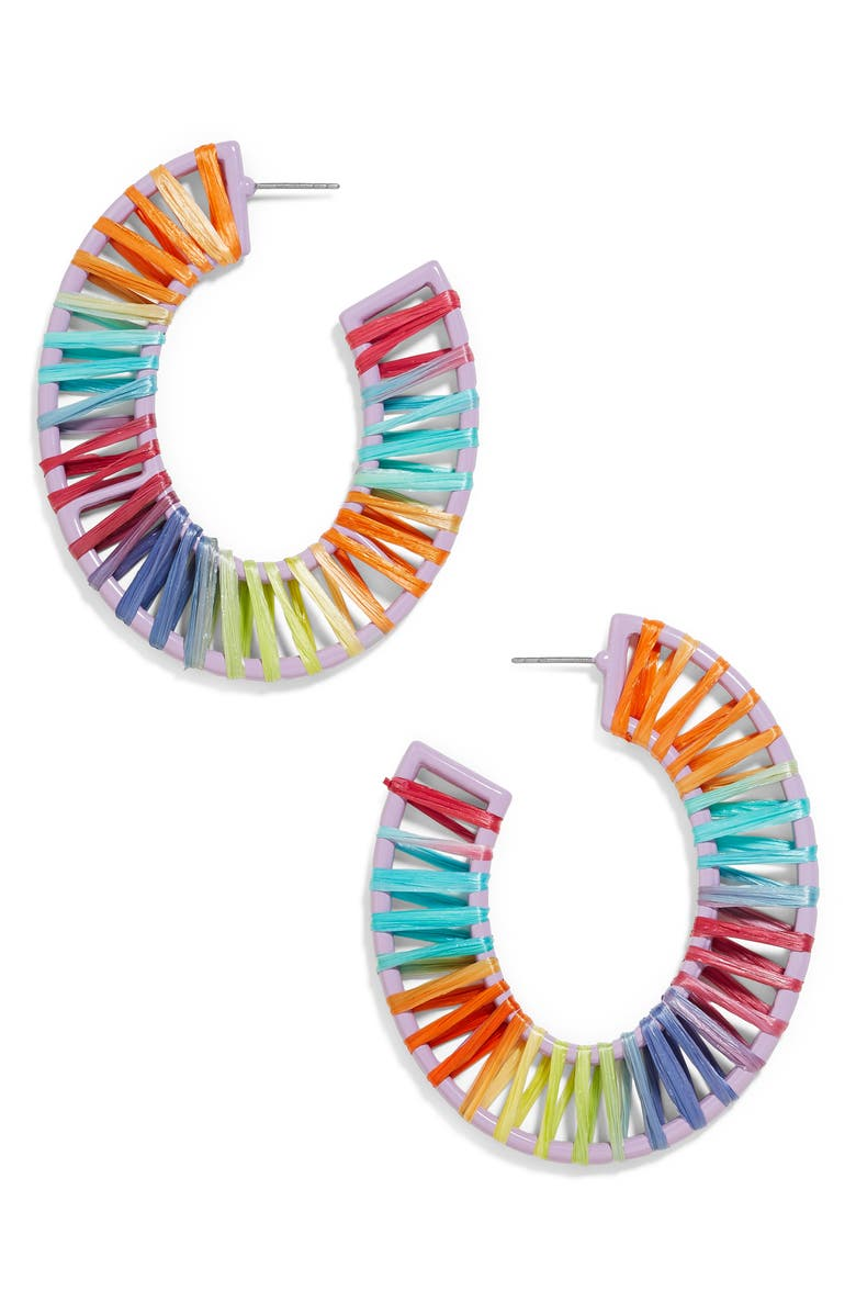 BAUBLEBAR Renatta Hoop Earrings, Main, color, RED MULTI