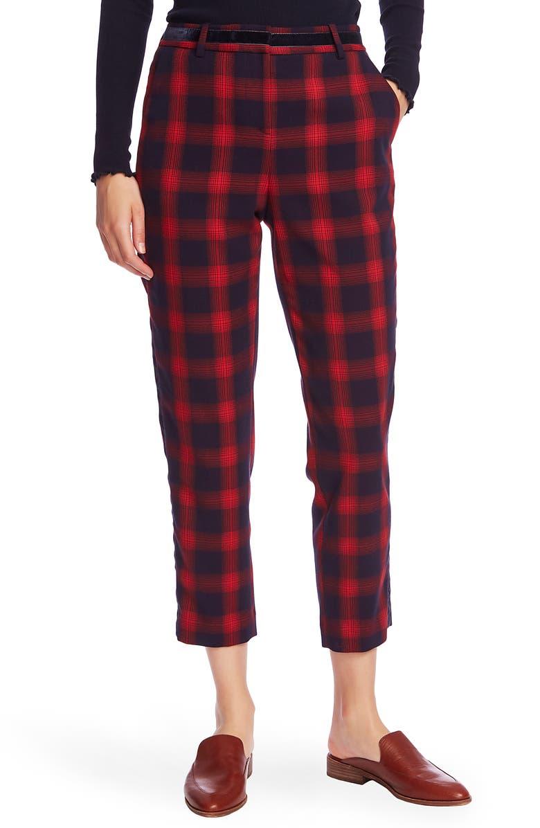 COURT & ROWE Velvet Stripe Shadow Plaid Crop Pants, Main, color, BLUE NIGHT