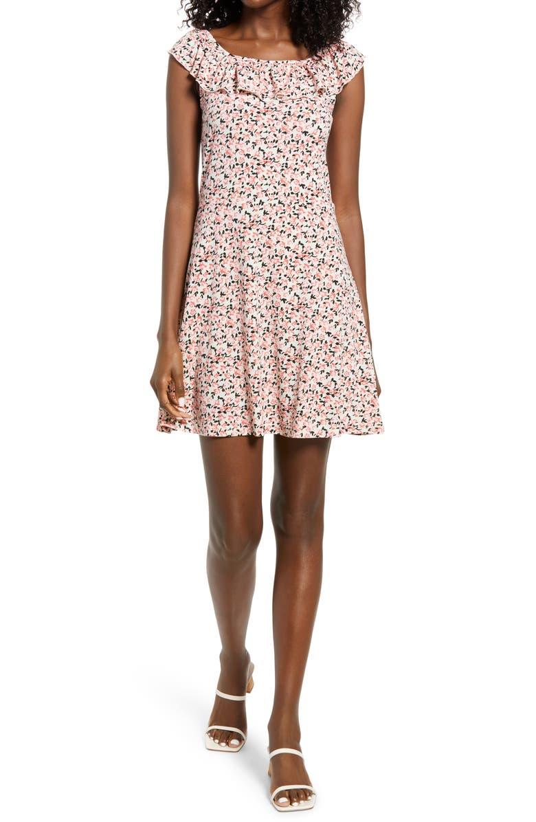 VERO MODA Kimmie Floral Ruffle Neck Minidress, Main, color, ROSEATE SPOONBILL