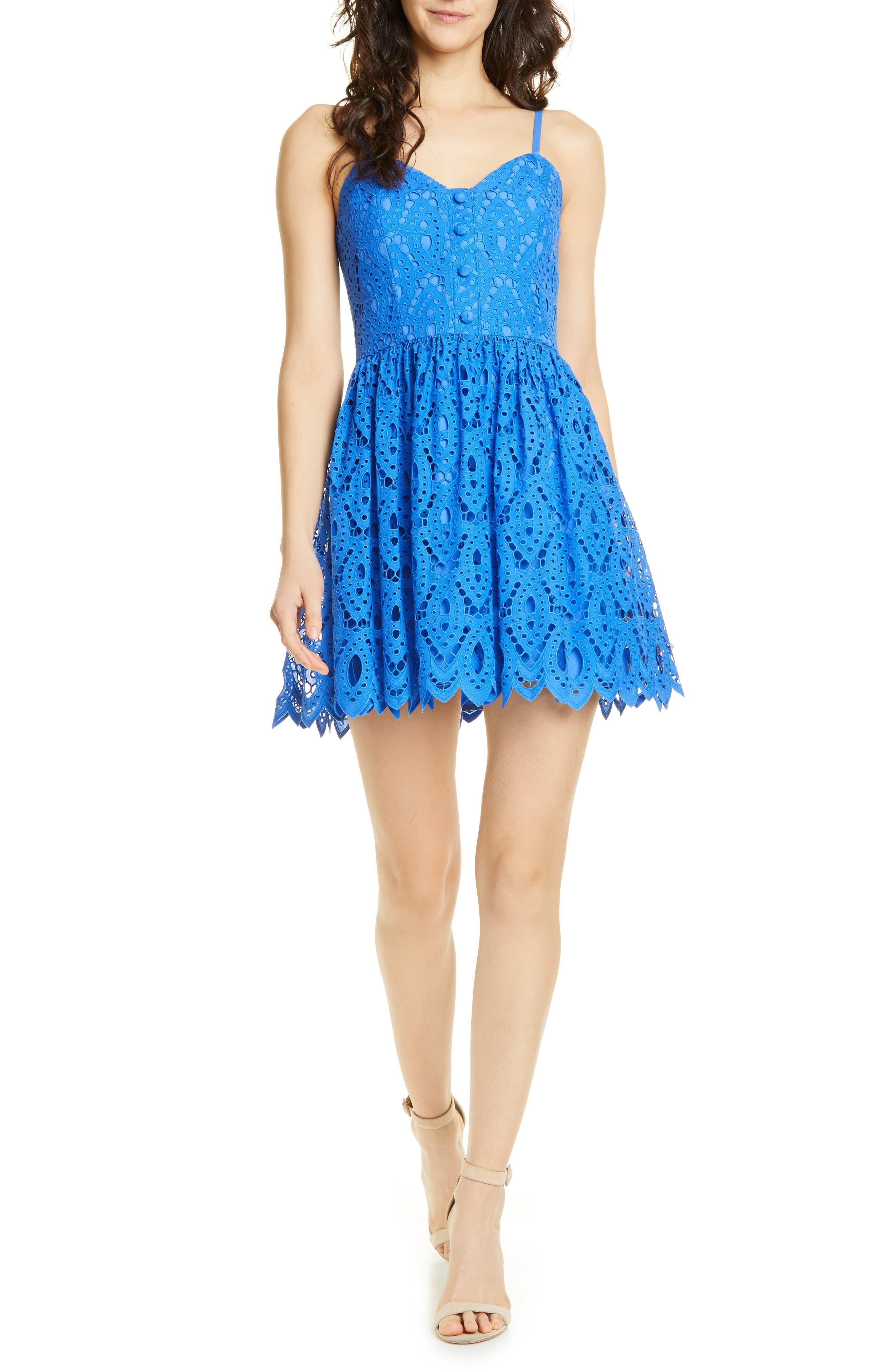 Alice + Olivia Nella Eyelet Minidress, Blue