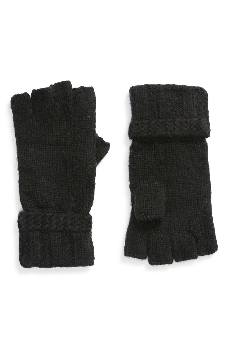 UGG<SUP>®</SUP> Fingerless Knit Gloves, Main, color, BLACK