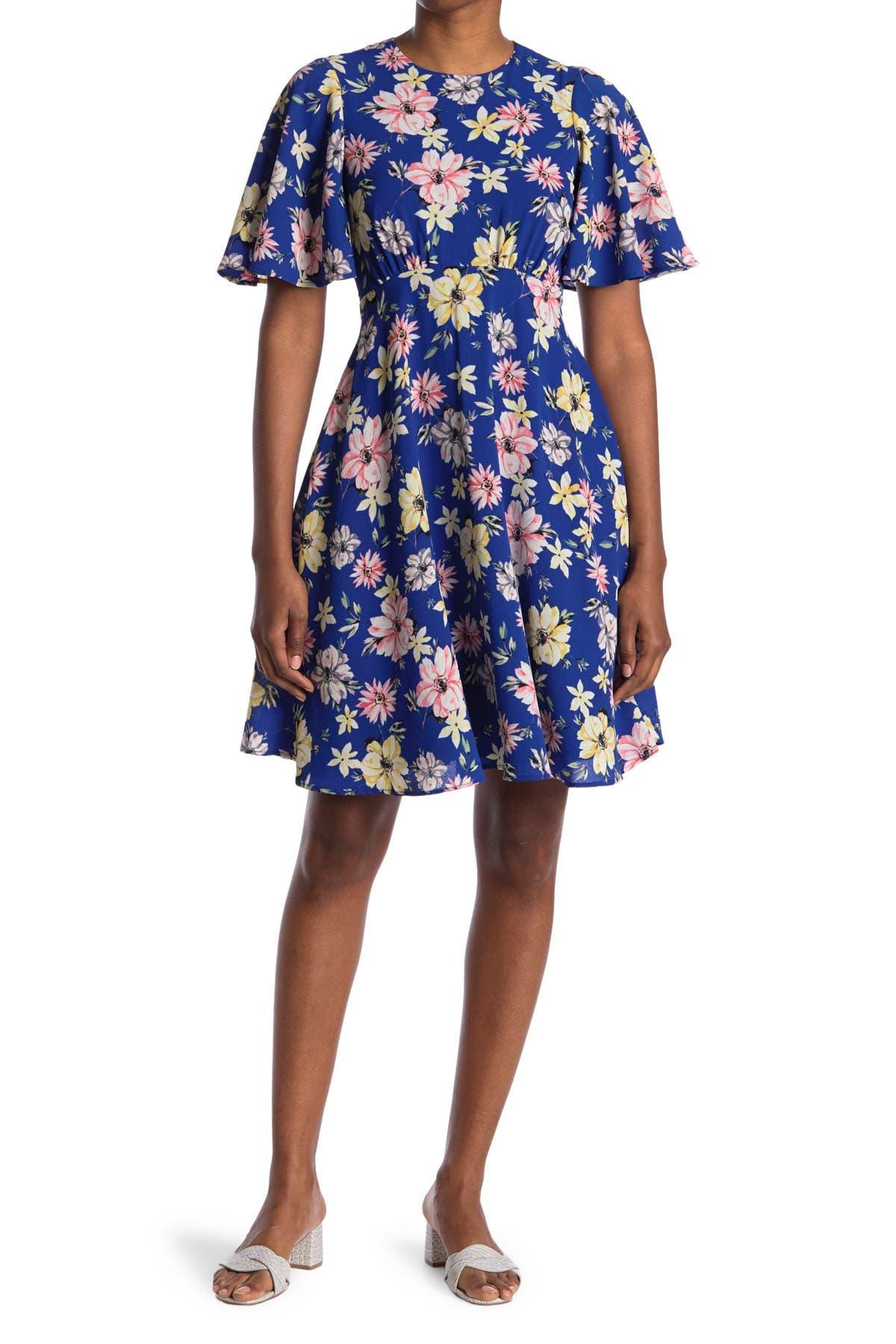 Image of Eliza J Flutter Sleeve Hi-Lo Midi Dress