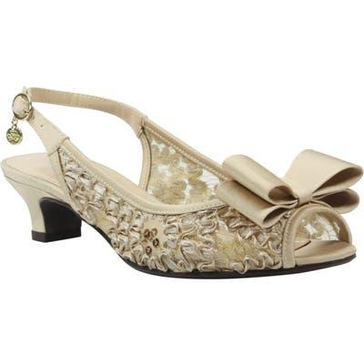 J. Renee Landan Bow Slingback Sandal, Metallic