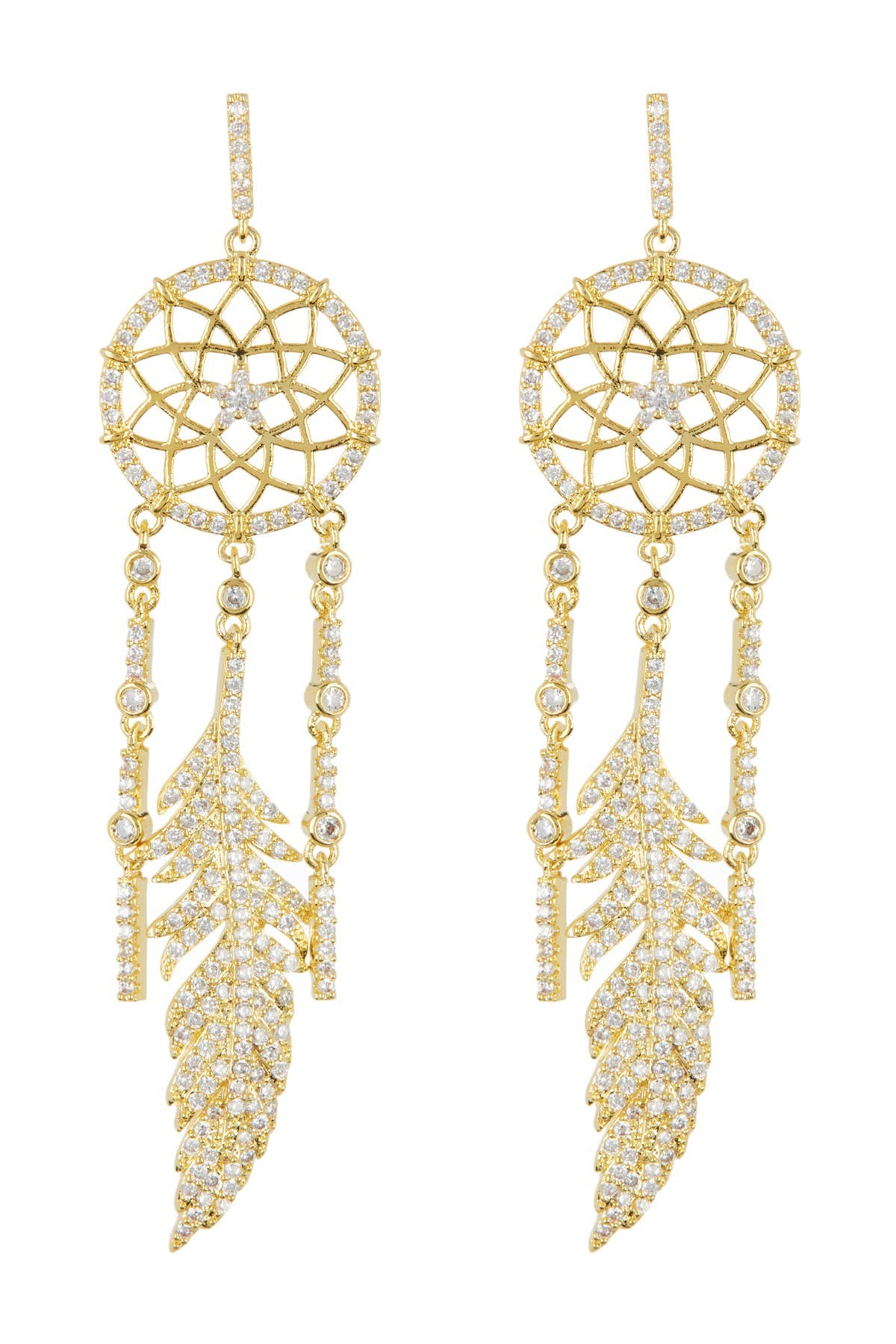 Eye Candy Los Angeles CZ Crystal Dreamer Catcher Golden Drop Earrings at Nordstrom Rack
