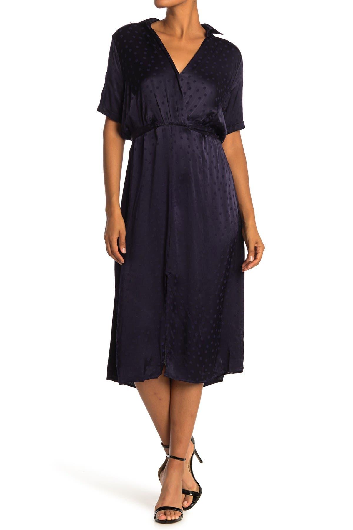 Image of Love Stitch Satin Polka Dot Midi Dress