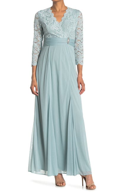 Image of Marina Lace Scalloped Neckline Gown