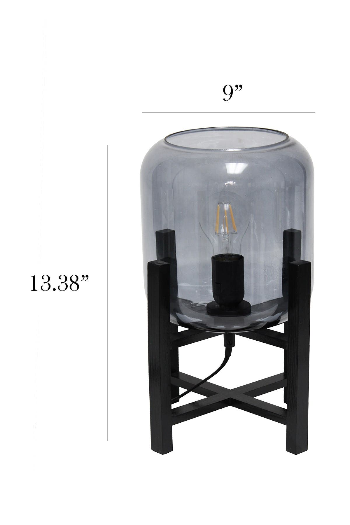 Image of LALIA HOME Simple Designs Black Wood Mounted Table Lamp with Smokey Glass Cylinder Shade