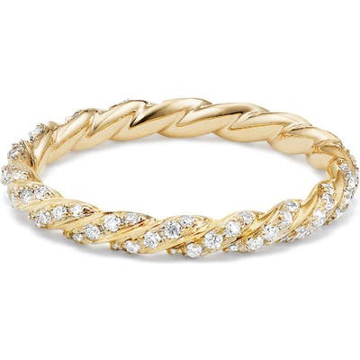 David Yurman 2.7Mm Paveflex Ring With Diamonds In 18K Gold