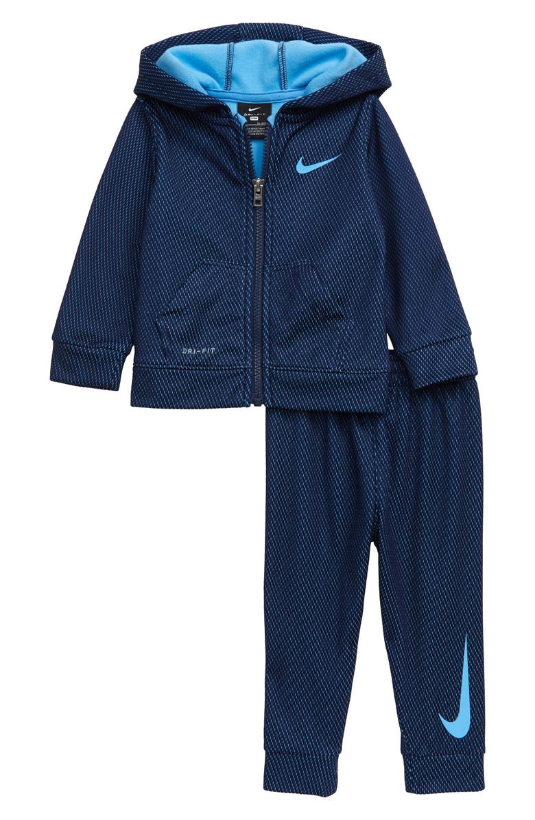 NIKE Dry Mesh Print Zip Hoodie & Sweatpants Set, Main, color, 416