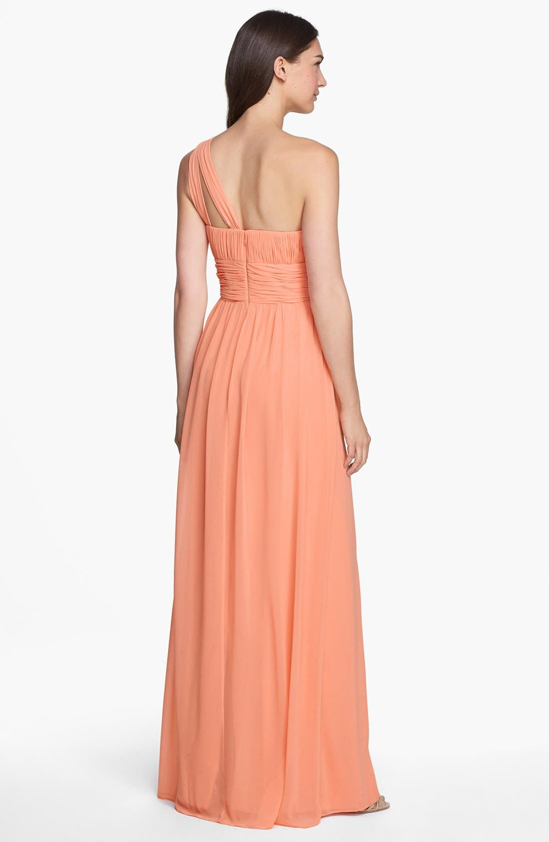 ,                             'Rachel' Ruched One-Shoulder Chiffon Gown,                             Alternate thumbnail 128, color,                             800