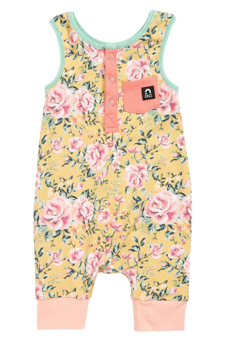 RAGS Floral Henley Tank Romper, Main, color, YELLOW
