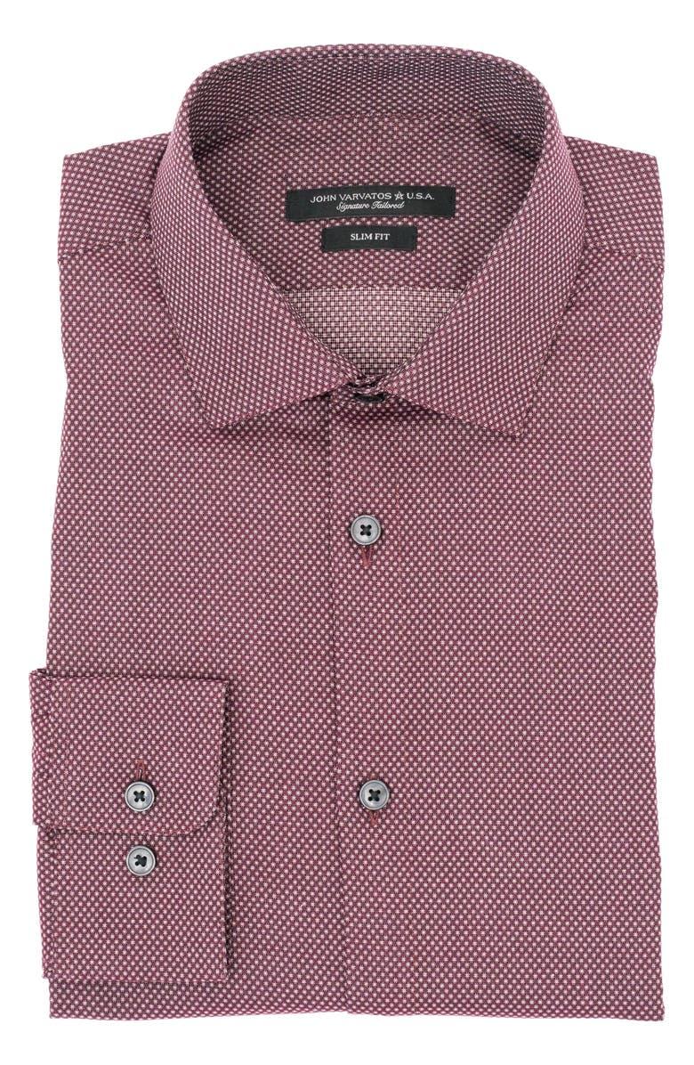 JOHN VARVATOS STAR USA Slim Fit Dress Shirt, Main, color, OXBLOOD
