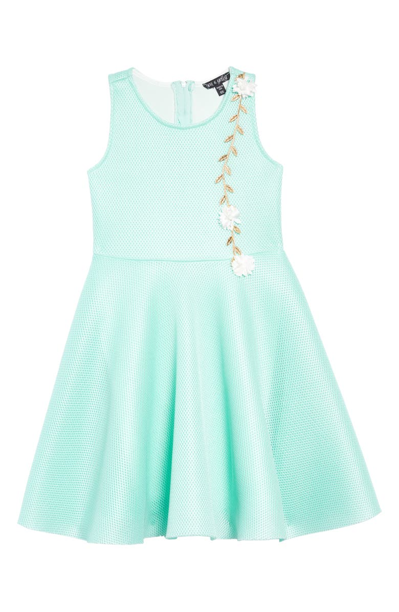 AVA & YELLY Mesh Skater Dress, Main, color, 400