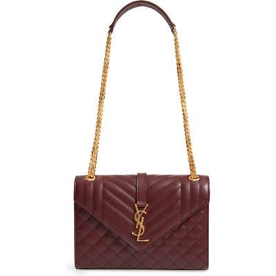 Saint Laurent Medium Cassandra Calfskin Shoulder Bag - Burgundy