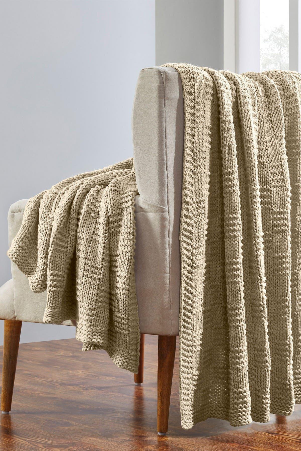 "Image of Modern Threads Acrylic Knit Throw - 50"" X 70"" - Phelon Beige"