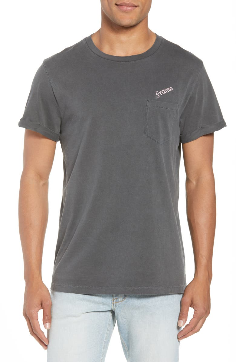 FRAME Classic Fit Logo Embroidered Pocket T-Shirt, Main, color, 001