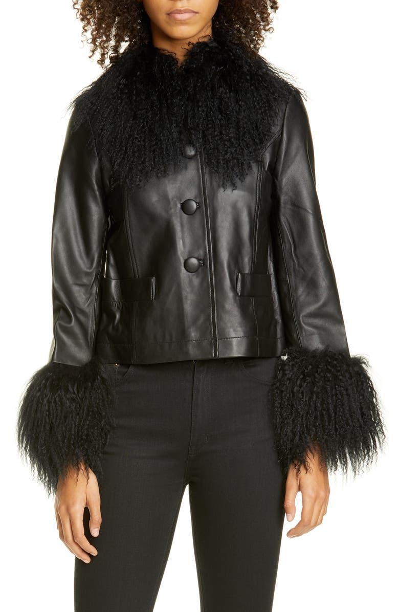 SAKS POTTS Contrast Trim Genuine Shearling Short Jacket, Main, color, BLACK