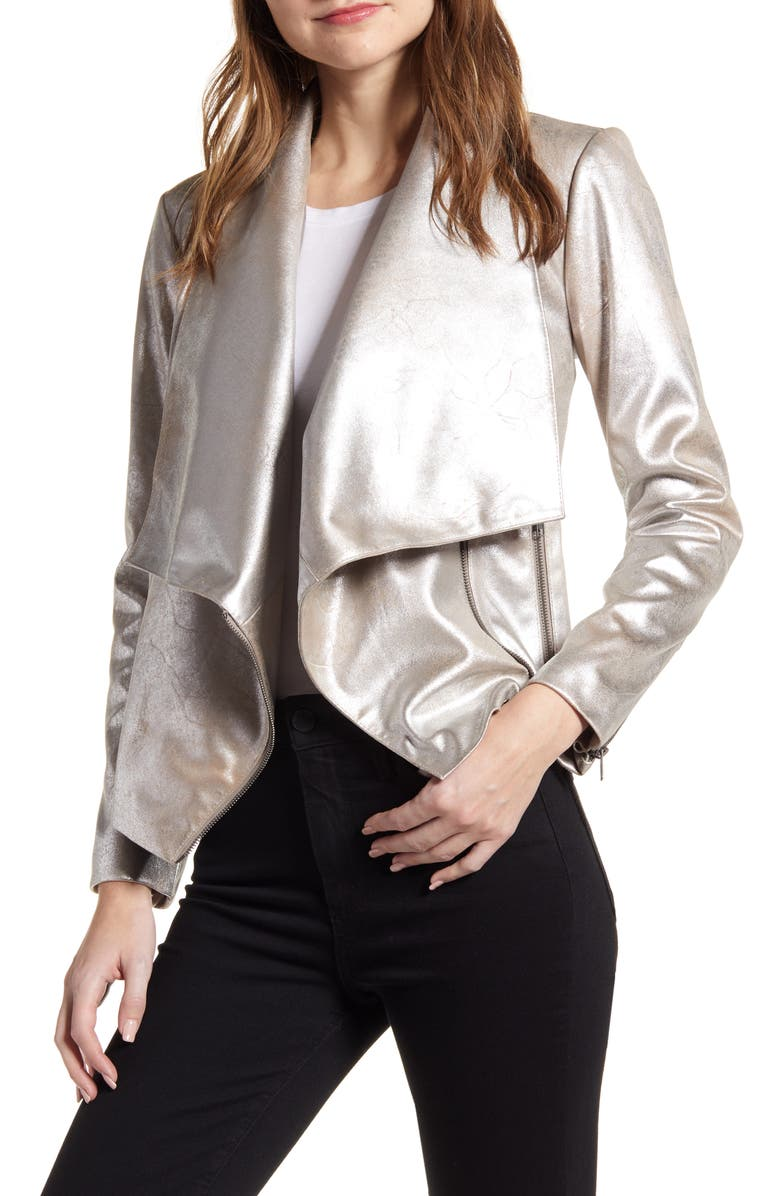 CUPCAKES AND CASHMERE Oslo Metallic Drape Moto Jacket, Main, color, SILVER TOFFEE