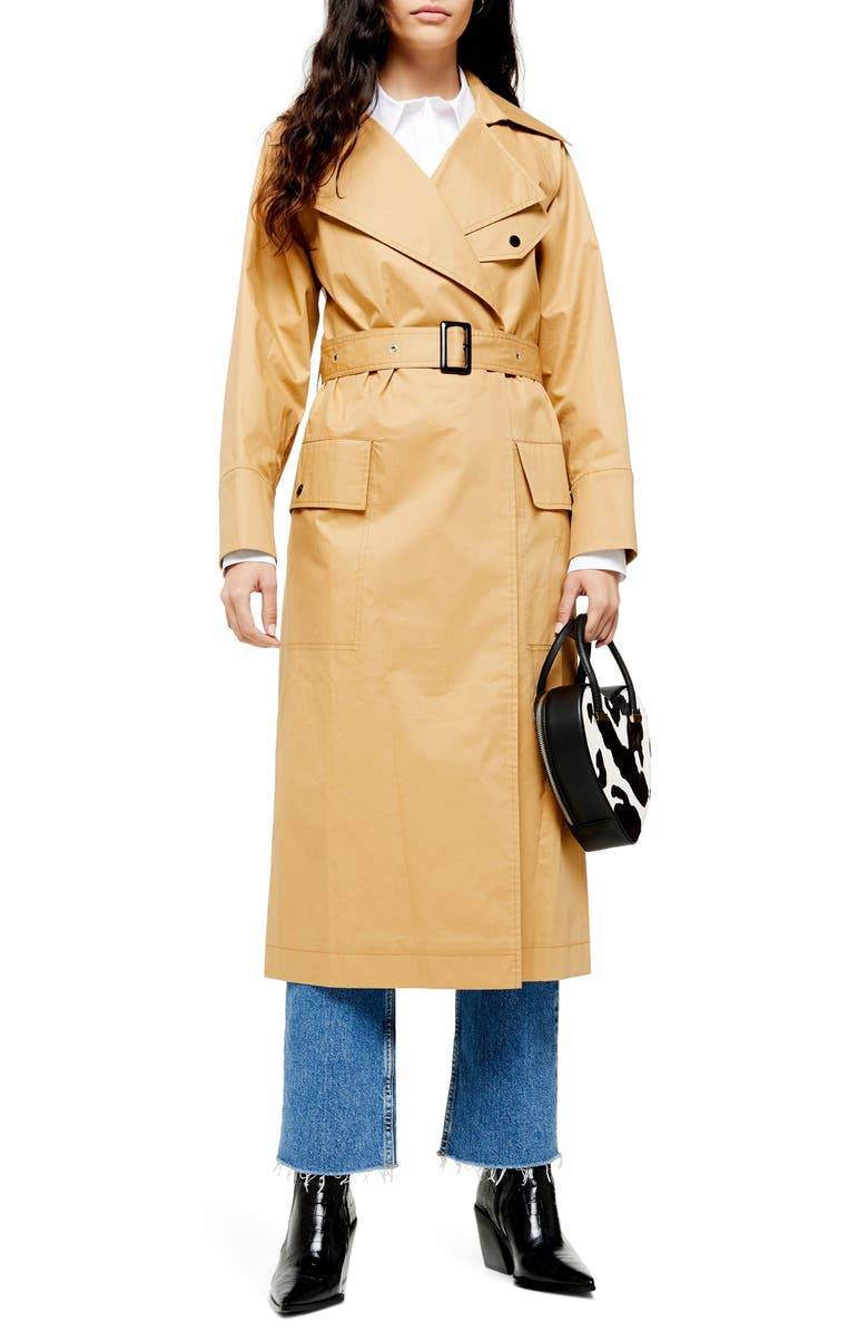 TOPSHOP Editor Trench Coat, Main, color, CAMEL