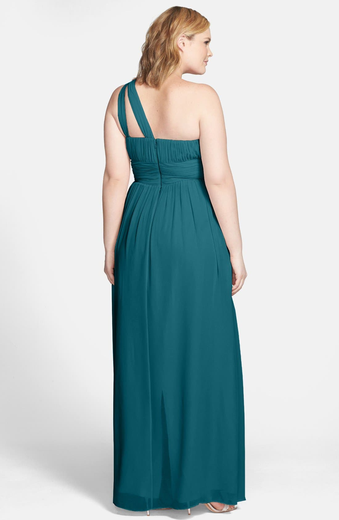 ,                             'Rachel' Ruched One-Shoulder Chiffon Gown,                             Alternate thumbnail 47, color,                             324