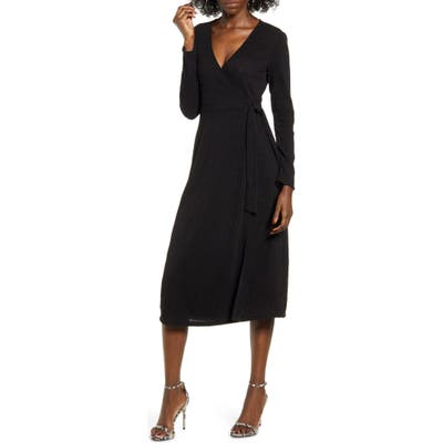 All In Favor Wrap Front Midi Dress, Black